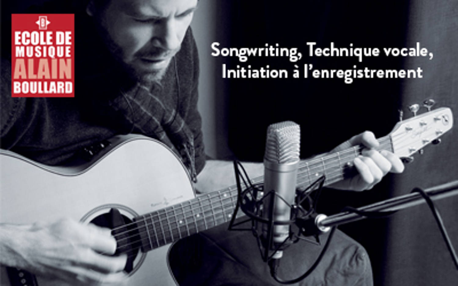 Cours de songwriting, technique vocale, initiation à l'enregistrement