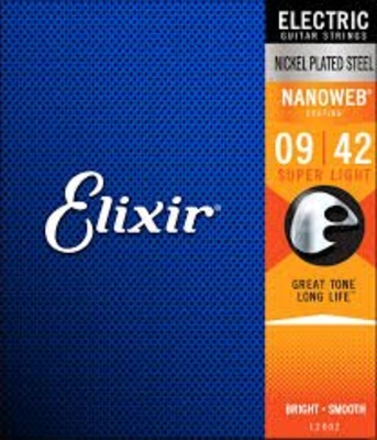 Elixir Electric, Nanoweb Coated Plated Plain Steel .009-.042 Super Light