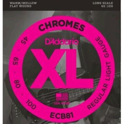 D'Addario ECB81 Chrome FlatWound Long Scale .045-.100 Regular Light