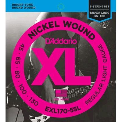 D'Addario EXL170-5SL Nickel Round Wound Super Long Scale .045-.130 Regular LIght