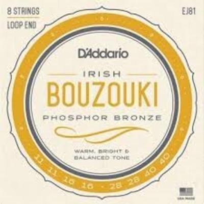 D'Addario Bouzouki-Irish 8 strings Set .011-.040 Phosphor Bronze Wound Loop End