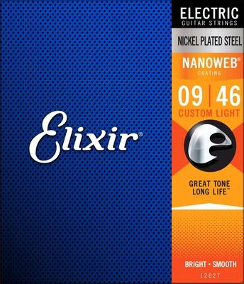 Elixir Electric, Nanoweb Coated Plated Plain Steel .009-.046 Custom Light