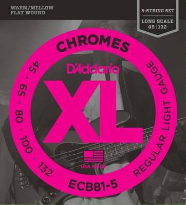 D'Addario ECB81-5 Chrome Flatwound Long Scale Regular Light .045-.132
