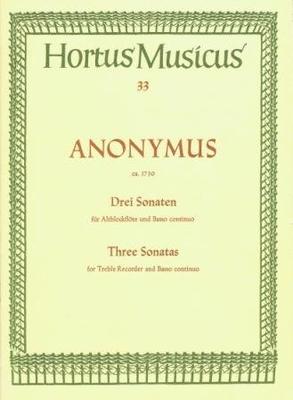 Hortus Musicus / 3 sonates / Anonymus / Bärenreiter