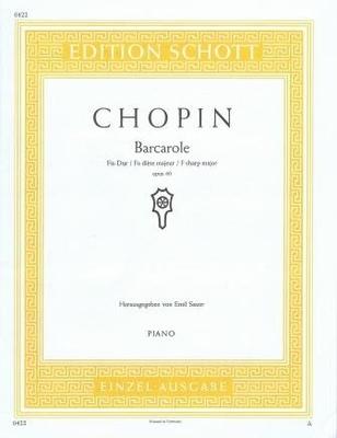 Barcarole en fa dièse majeur op. 60 / Chopin Frédéric / Schott