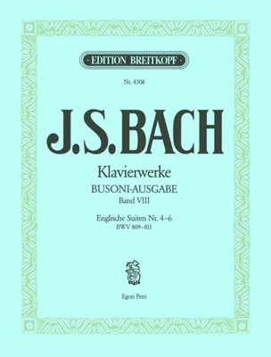 Suites anglaises 4 à 6 BWV 809-811 / Bach Jean Sébastien / Breitkopf