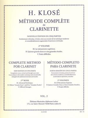 Méthode Complète de Clarinette Volume 23. Le Méchanisme supérieur, 4. Grand duos et grandes études, 5. Traits difficiles / Hyacinthe-Eléonore Klosé / Leduc
