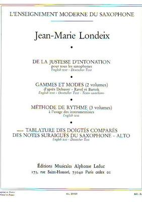 Tablature des doigtés comparés des notes / Londeix Jean-Marie / Alphonse Leduc