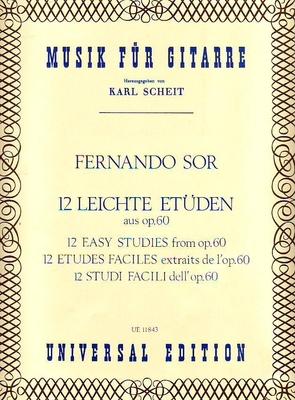 12 études faciles extraites de l'op. 60 / Sor Fernando / Universal Edition