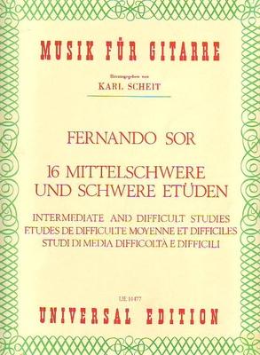 16 études de diff. moyenne et difficile / Sor Fernando / Universal Edition
