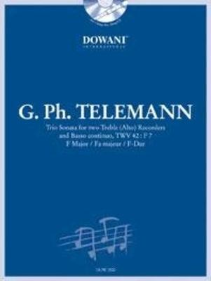 3 Tempi play along / Trio en fa majeur TWV 42:F7 2 flûtes à bec alto & BC / Telemann Georg Philip / Dowani