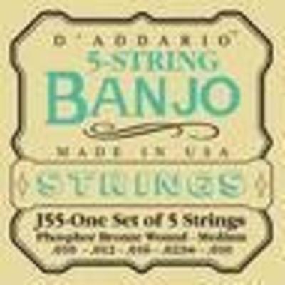 D'Addario J55 set jeu de 5 cordes pour Banjo medium