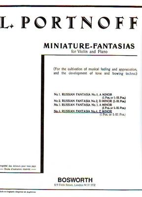 Leo Portnoff: Russian Fantasia No.4 E Minor For Violin And Piano / Leo Portnoff / Bosworth
