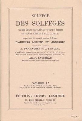 Solfège des solfèges, vol. 1A Ancienne édition / Danhauser A./ Lemoine L. / Henry Lemoine