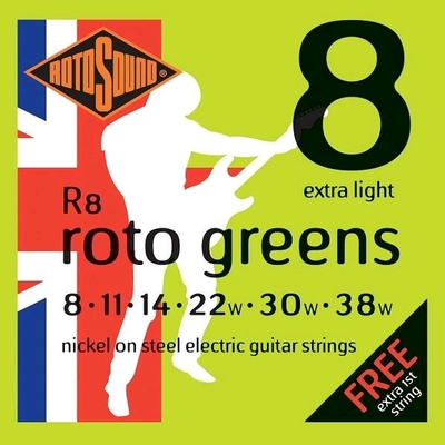 Rotosound R8 Roto Green Nickel Plated .008-.038 R/W Extra Light