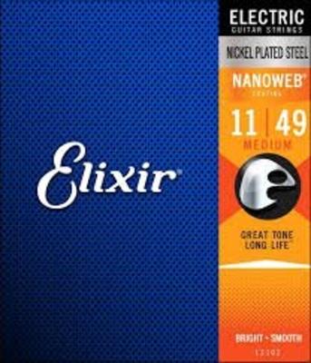 Elixir Electric, Nanoweb Coated Plated Plain Steel .011-.049 Medium