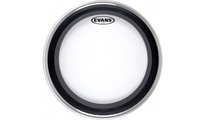 Evans BD24EMAD2 EMAD 2 bassdrum batter with 2 removable muffle rings double ply clear 24»