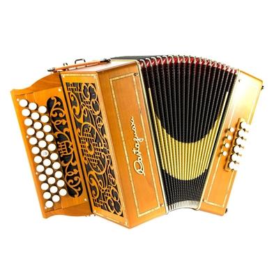 Castagnari Handry 3/3 voix, 12 basses, 4 registres automatiques, tonalité Sol/Do en cerisier