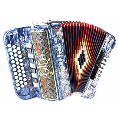 Coopè Armoniche 33/12 touches, 4/5 voies, accordage »Portugais» Bleu d'Italie, SOL/DO/FA, Options décoration complète