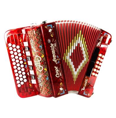 Coopè Armoniche 4/5 voix, 33 boutons, 12 basses, accordage »Portugais» Rosso Perlato, La/Ré/Sol option décoration complète