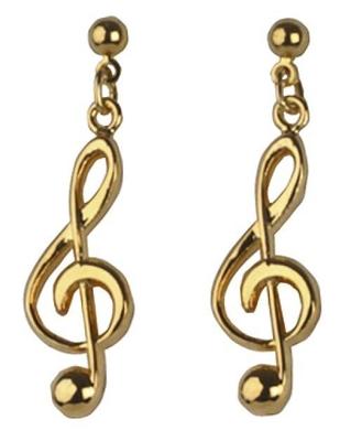 Gewa Boucle d'oreille (la paire de 2)En forme de clef de »Sol» dorée