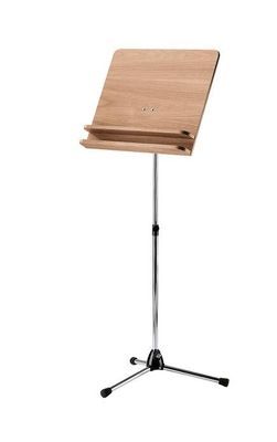 K & M 118/31 Orchestra music stand – chrome stand with walnut wooden desk