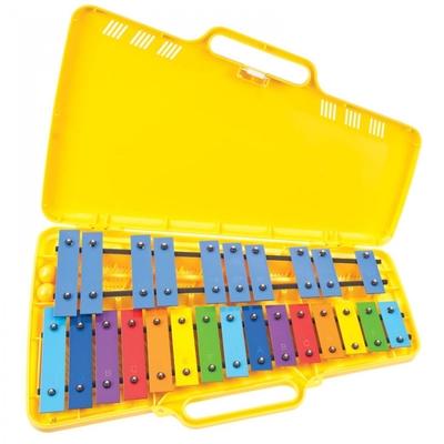 Angel Métallophone jaune 2 octaves chromatiques, 25 lames, livré avec mailloches