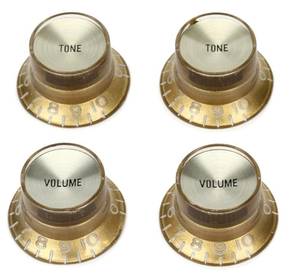 Gibson Top Hat Knobs Gold with Gold Metal Insert