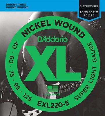 D'Addario EXL220-5 Nickel Round Wound Long Scale .040-.125 Super Light