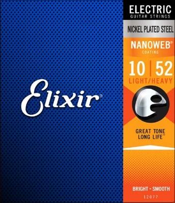 Elixir Electric, Nanoweb Coated Plated Plain Steel .010-.052 Light Heavy