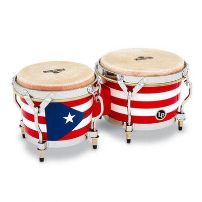 LP M201-PR Bongos Puerto Rican Flag Chrome (special order only)