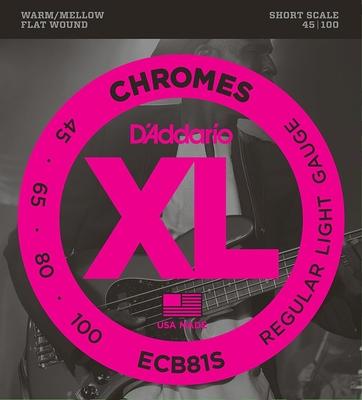 D'Addario ECB81S Chrome Polished FlatWound Short Scale .045-.100 Soft