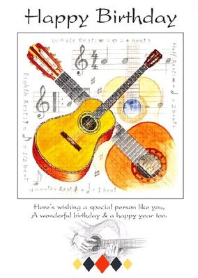 Music Sales Ltd Little Snoring Gifts cartes de voeux motif guitare