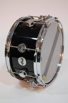 DW Collectors Lacquer Custom Solid Black (50) Chrome HW Snare 14»x6»
