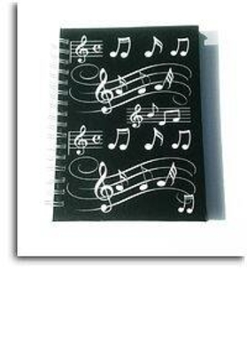 A6 Carnet Notebook spirales avec lignes Black With White Musical Notes  /  / Music Sales Ltd