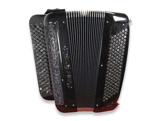 Cavagnolo Digit Millenium LB12 avec option noir métallisé, grille peinte, boutons noir cerclé et marbrés, 120 basses, options 5ème rangée main droite, liberty + toutes options