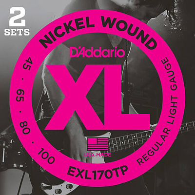 D'Addario EXL170TP Paquet De 2 Jeux El Bass 045-100 Nickel Round Wound Long Scale Soft