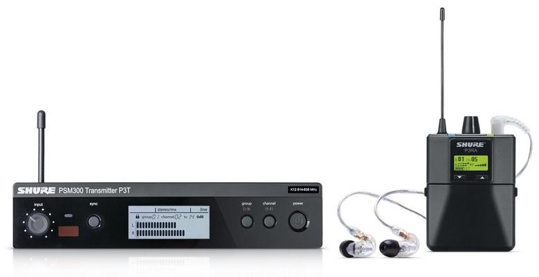 Shure PSM300 Premium Combo PSM300 Premium, Combo, SE215, 606-630MHz avec P3T émetteur, P3RA récepteur de poche, SE215 écouteurs