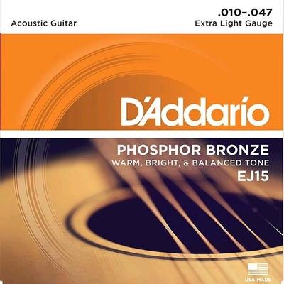 D'Addario EJ15 .010-.047 Phosphor Bronze Wound Extra Light