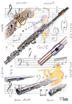 Boullard Musique Little Snoring Gifts cartes de voeux motif flûtes