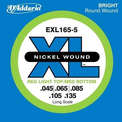 D'Addario EPS165-5 El. Bass 5-String .045-.135 Nickel R/W. Long Scale Soft Top / Reg. Bottom