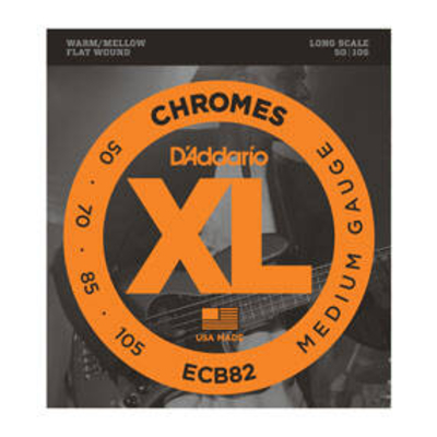 D'Addario ECB82 EI BASS 050-105 Chrome Polished Flat W.Long Scale Regular