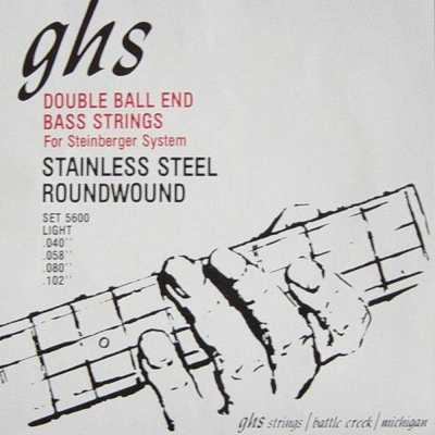 GHS El. Bass 4 String DOUBLE BALL End .040-.102 Stainl. Steel Round Wound Light