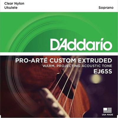 D'Addario EJ65S Set Ukulele Soprano, »Pro-Arté Custom Extruded», .024 – .028 Clear Nylon