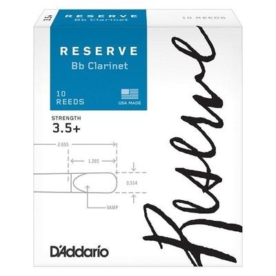 D'Addario DCR10355 Woodwinds Reserve, Clar. Sib, #3.5+, boîte de 10