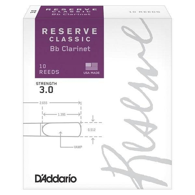 D'Addario DCT1030 Woodwinds Reserve Classic, Clarinette Sib, #3, boîte de 10