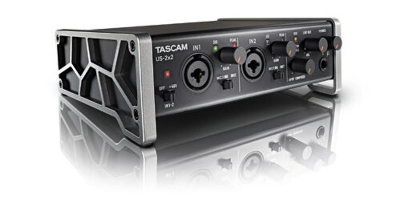 Tascam US-2×2 USB Audio/MIDI Interface, 2 inputs/ 2 outputs, Phantom, 24bit/96kHz, USB 2.0