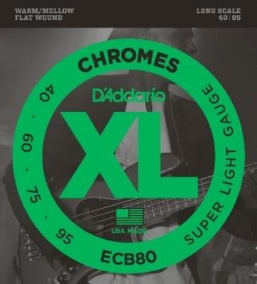 D'Addario ECB80 Chrome Polish FlatWound Super Long Scale .040-.095 Super Soft Flat Wound