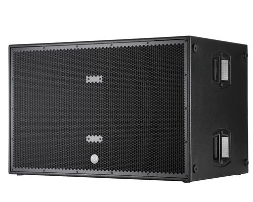 RCF SUB 8006-AS Subwoofer à amplification numérique de 2500W, construction en bois, 141 dB SPL, 2×18», cardiode, entrée et sortie sur XLR, Poids: 90 kg