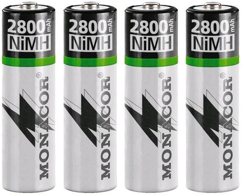 Monacor NIMH-2800/4 Set d'accumulateurs NiMH, R6, 4 pièces